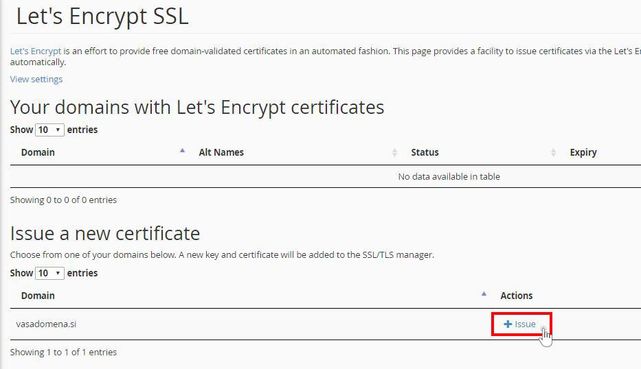 Izbira domene za namestitev SSL certifikata