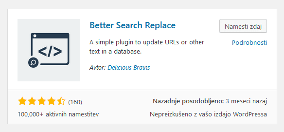 Vtičnik Better Search Replace