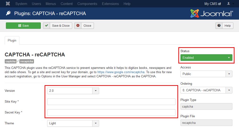 Joomla - nastavitev reCAPTCHA vtičnika