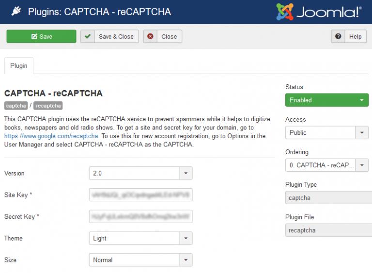 Nastavitev Joomla reCAPTCHA