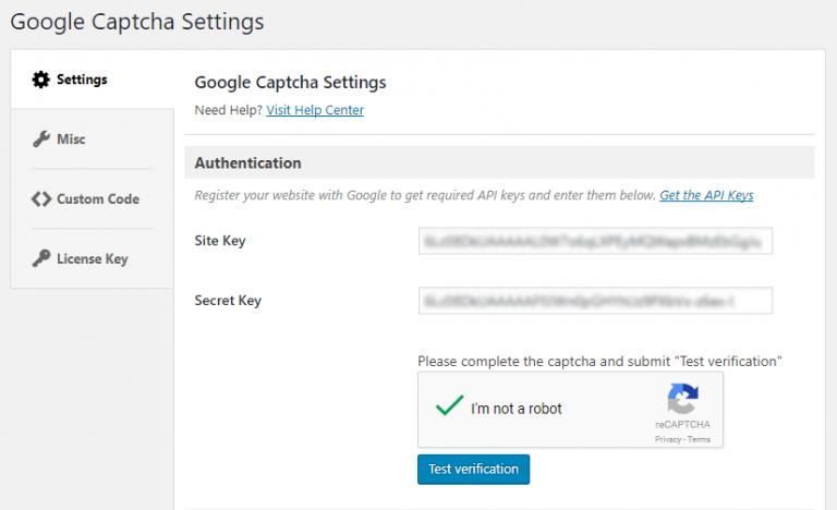Pridobitev ključev za uporabo reCAPTCHA