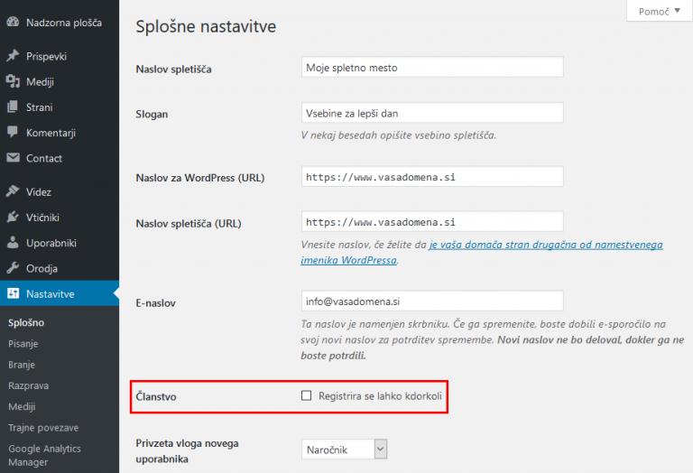 WordPress - odprava možnosti registracije
