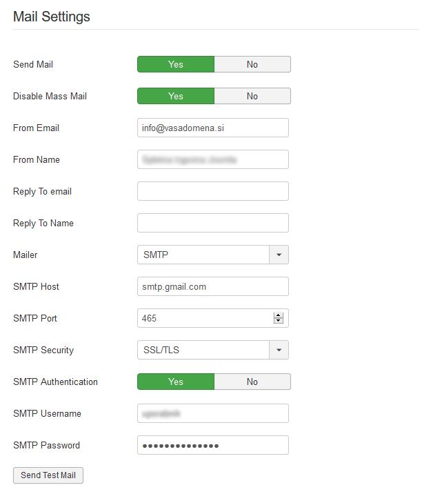 SMTP - Joomla nastavitve