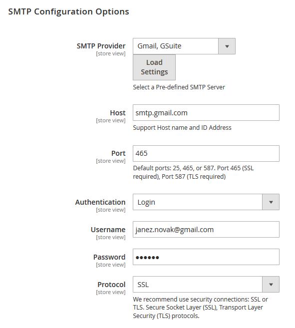 SMTP - Magento nastavitve