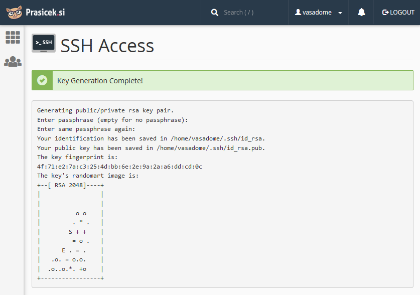 Obvestilo o kreiranju SSH ključa