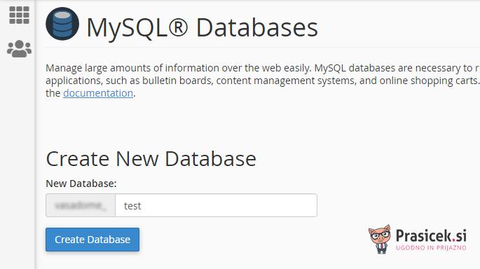 Kreiranje nove podatkovne baze v cPanel