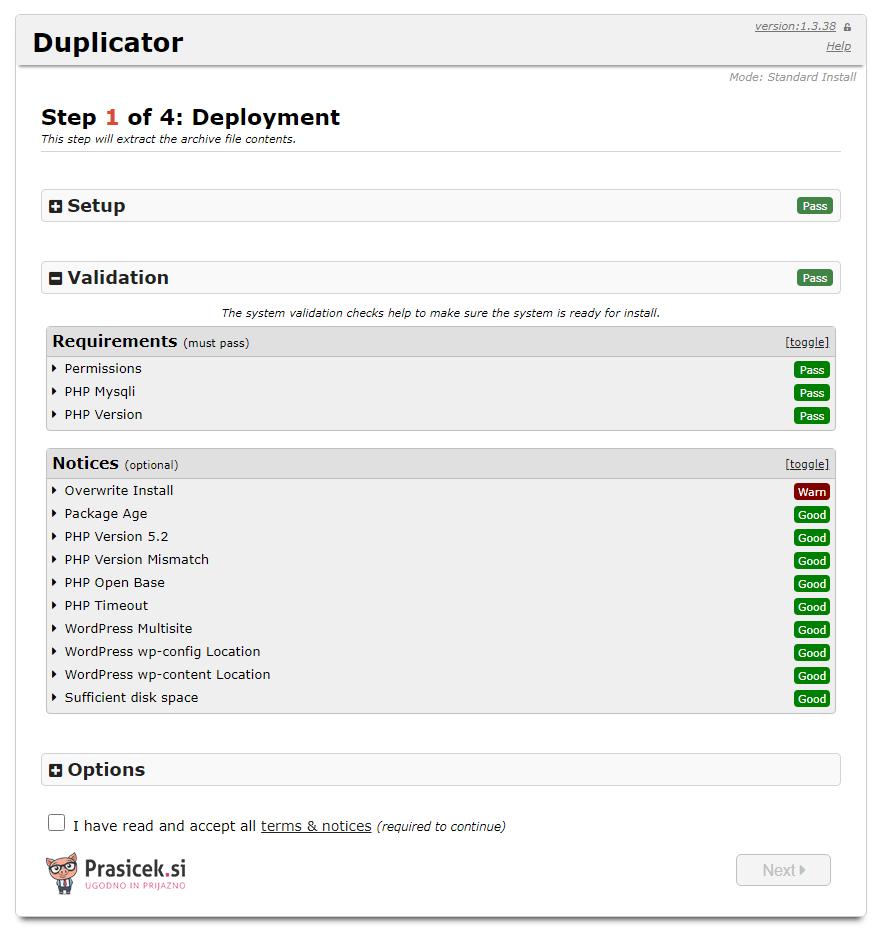 Postopek dupliciranja - korak 1