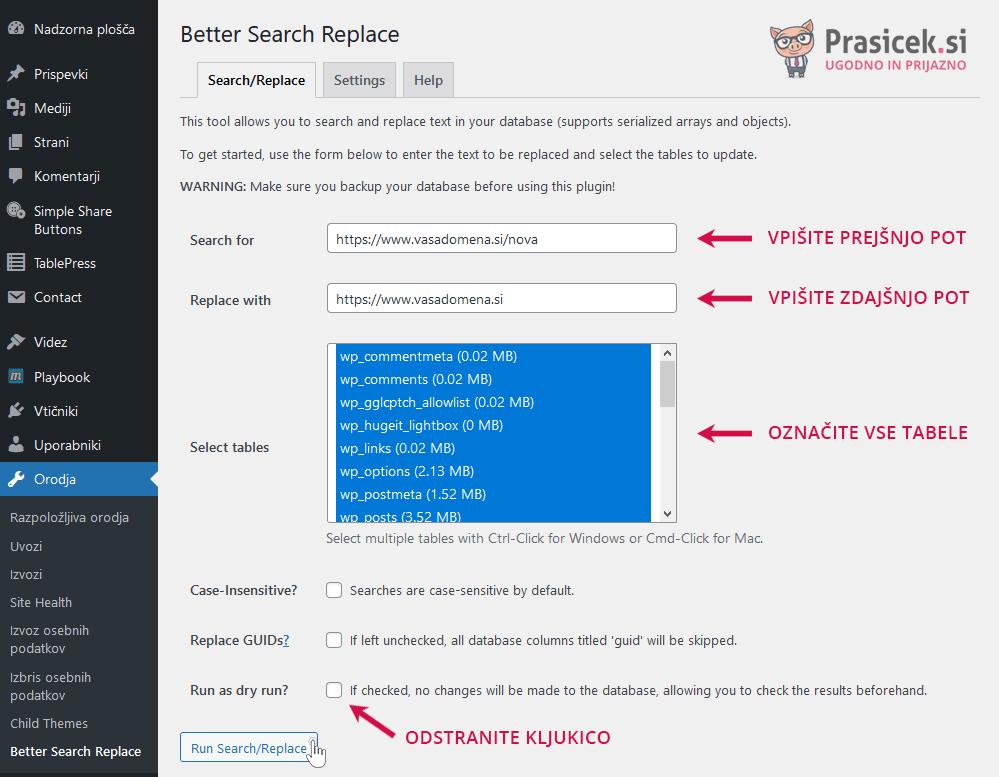 Better Search Replace - Popravek poti