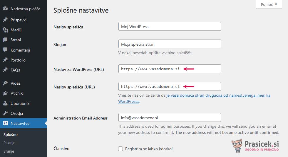 WordPress administracija - Naslov spletišča