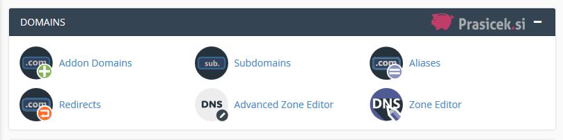 Nadzorna plošča cPanel - Domains (domene)