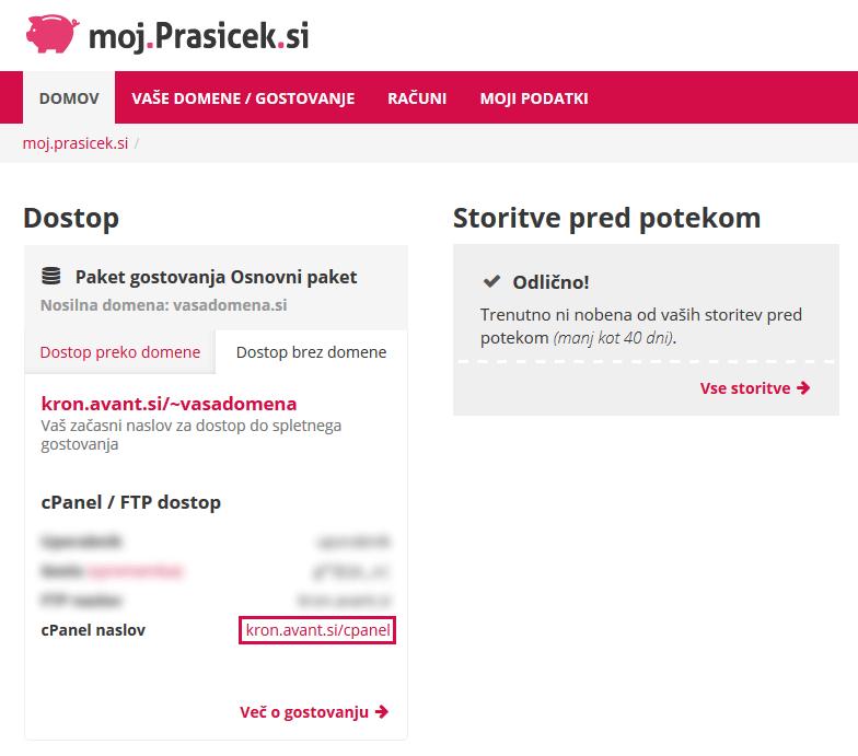 Dostop do cPanel brez domene