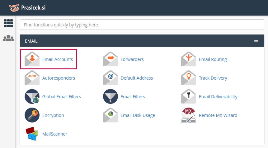 Nadzorna plošča cPanel - Email Accounts