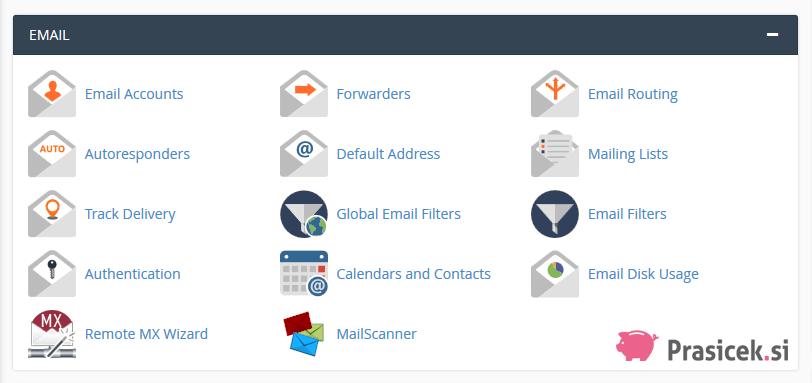 Nadzorna plošča cPanel - Email (e-pošta)