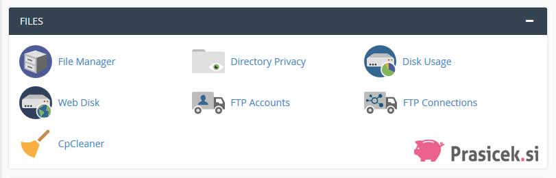 Nadzorna plošča cPanel - Files (datoteke)