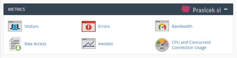 Nadzorna plošča cPanel - Metrics (dnevniki in statistike)