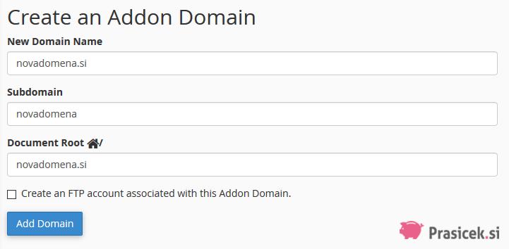 Dodana domena