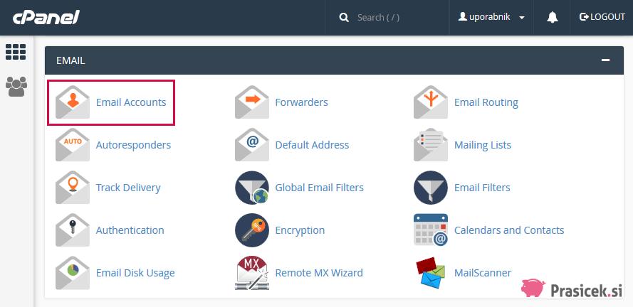 Email Accounts - Nadzorna plošča cPanel