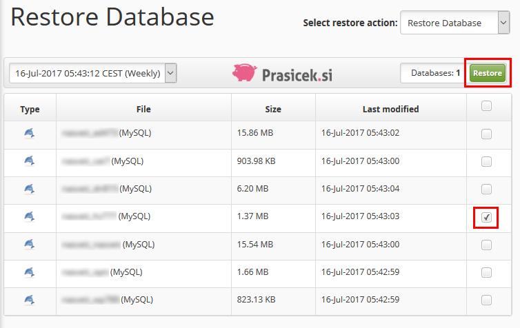Obnovitev podatkovne baze