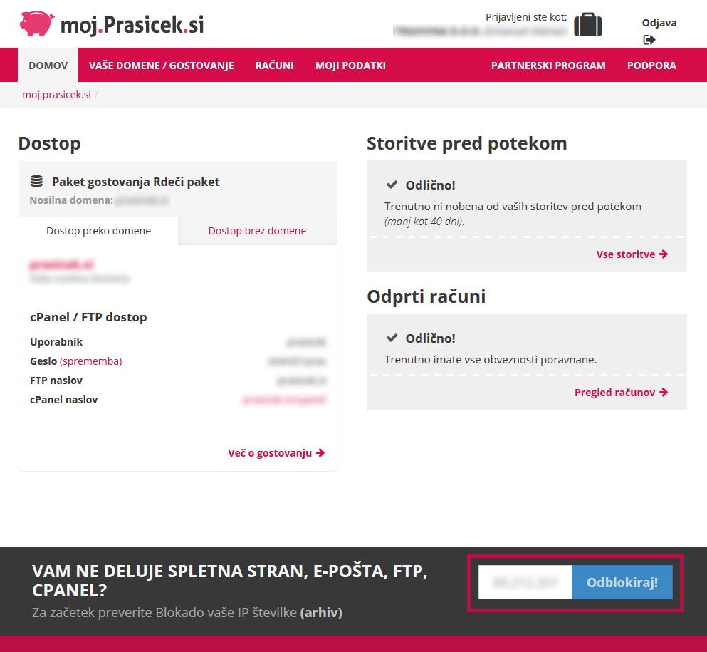 Odblokiraj IP naslov