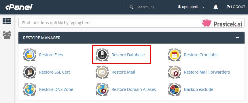 cPanel - Restore Database