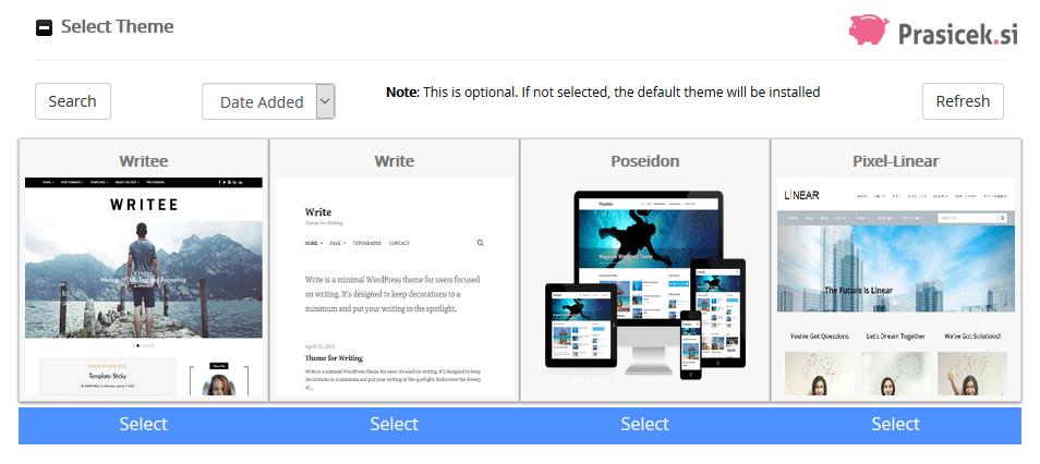 WordPress - Select Theme