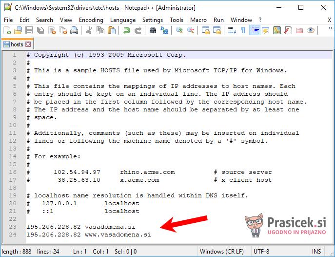 Datoteka hosts - preusmeritev domene