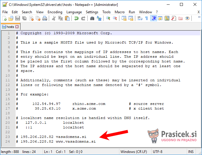 Datoteka hosts - zakomentirani vrstici