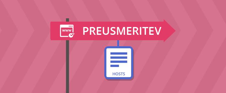 Preusmeritev domene s hosts