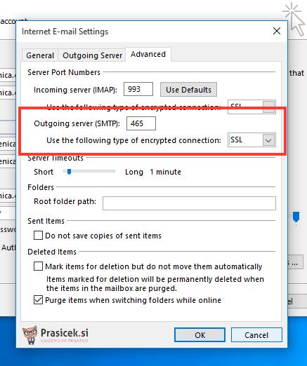 SMTP nastavitve