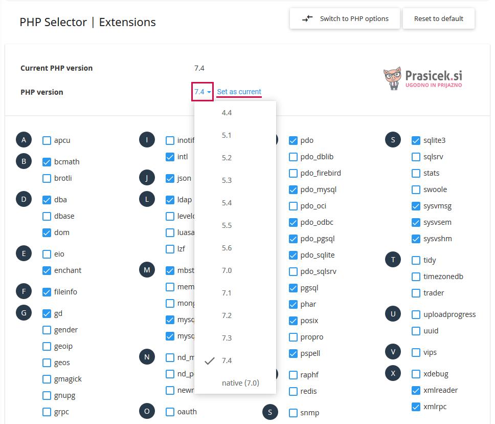 Nadzorna plošča cPanel - Seznam PHP verzij