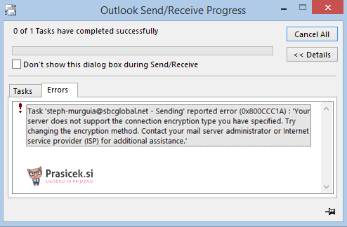 Odprava Outlook napake 0x800ccc1a