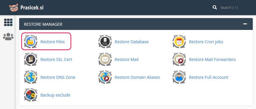 cPanel - Restore Files