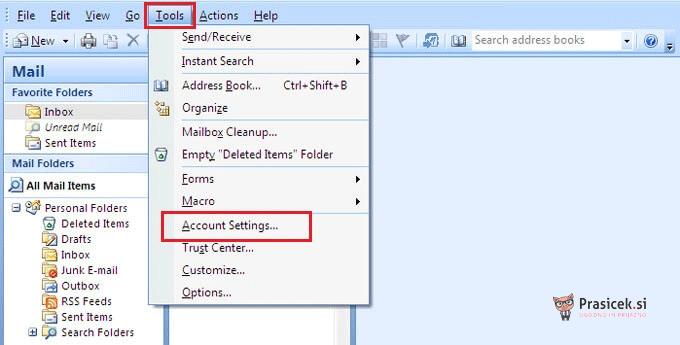 Nastavitve Outlook računa