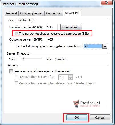 Outlook SSL nastavitve