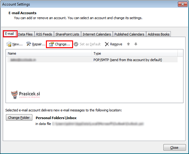 Outlook zavihek E-pošta