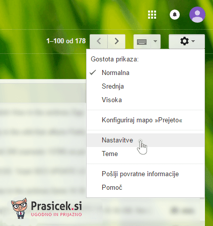 Gmail nastavitve