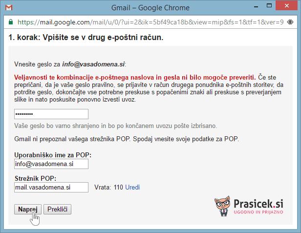 Vpišite se v drug e-poštni račun - preverjanje