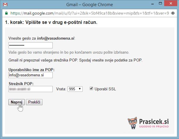 Vpišite se v drug e-poštni račun SSL - 3. korak