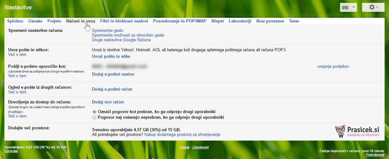 Gmail - računi in uvoz