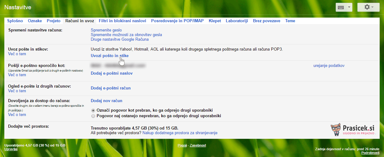 Gmail - uvozi e-pošto in stike