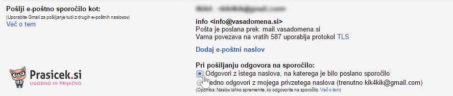 Pošiljanje e-sporočila iz drugega naslova - 5. korak