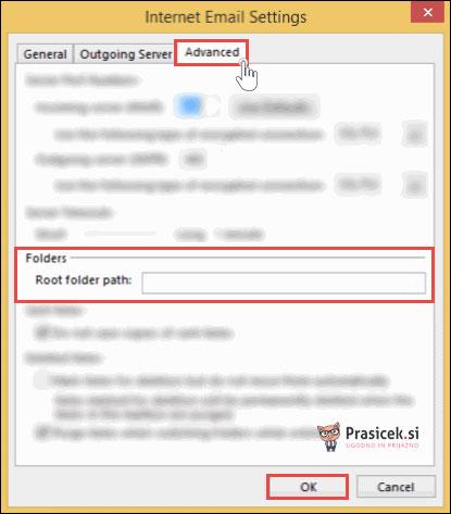 Outlook - napredne nastavitve