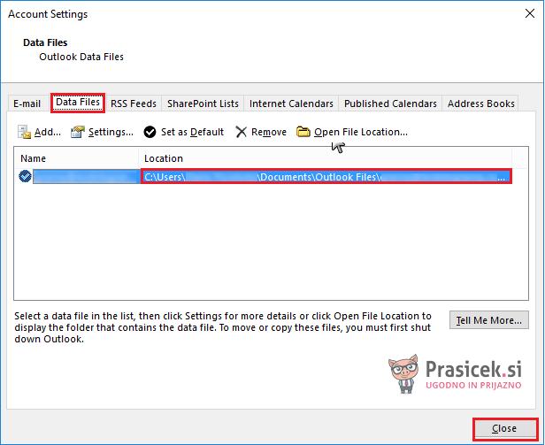 Outlook – privzeta podatkovna datoteka PST