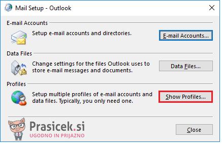 Outlook – Prikaz profilov