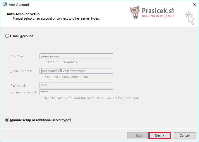Outlook – Ročna nastavitev e-računa