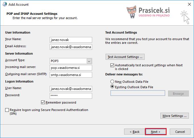 Outlook – Uvoz podatkovne datoteke