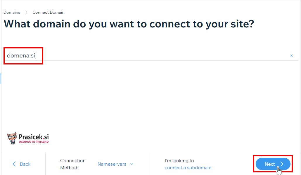 Povezovanje domene v Wix
