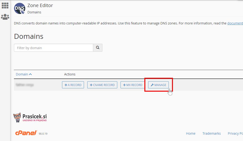 Urejanje domene v cPanel