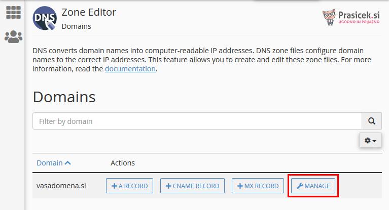 Upravljanje DNS zapisov domene - cPanel
