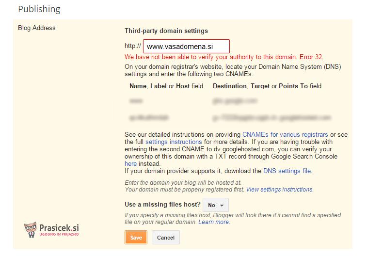 DNS zapisi - Blogger